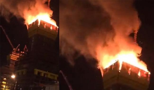 Central Asia's tallest tower, hit by fire