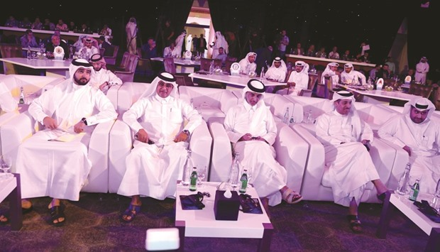 Qatar Football Association President Sheikh Hamad bin Khalifa bin Ahmed al-Thani (third from left) and other officials at the draw yesterday.