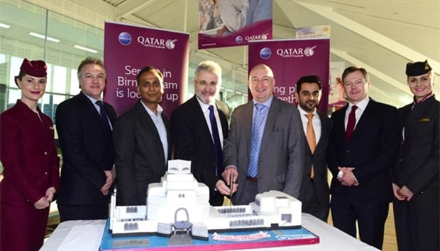 The first Qatar Airways from Birmingham Airport to Doha