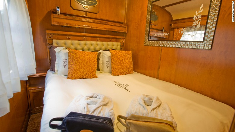A five-star hotel on wheels – The Transcantabrico Gran Lujo stays parked at the station every night to help passengers get a good night's sleep. Deluxe Suites come with a living room, bedroom and ensuite bathroom.