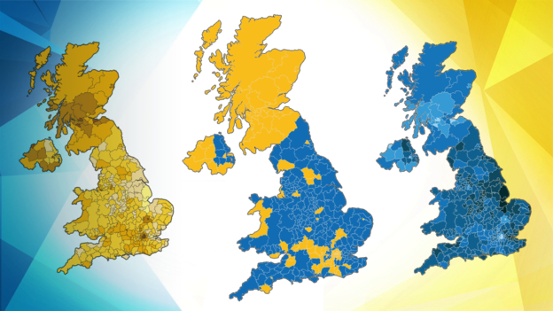 Blue: Majority leave - Yellow : Majority remain