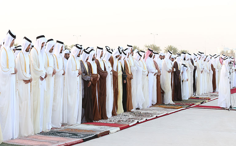 HH the Emir, HH the Father Emir Perform Eid Prayer