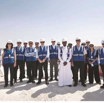 Representatives of the participating French companies at the Al Wakrah Stadium site.