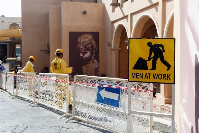 Building work is carried out in Doha's Katara Cultural Village