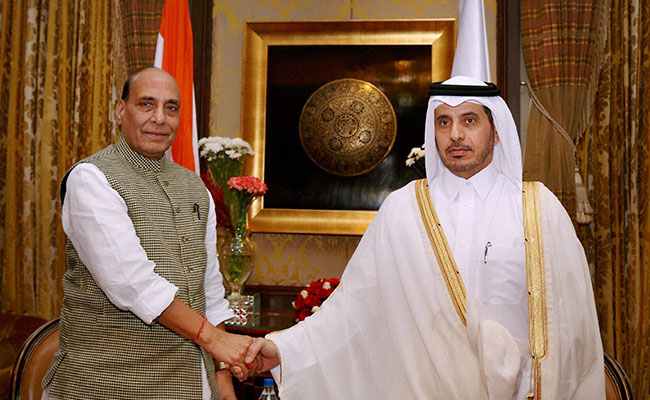 rajnath singh with qatar prime minister pti