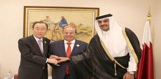 Emir Meets Yemeni President, UN Chief