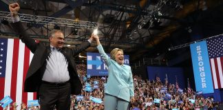 Hillary Clinton's running mate makes his debut in Miami