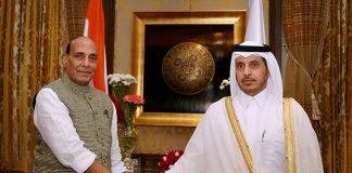 rajnath singh with qatar prime minister pti